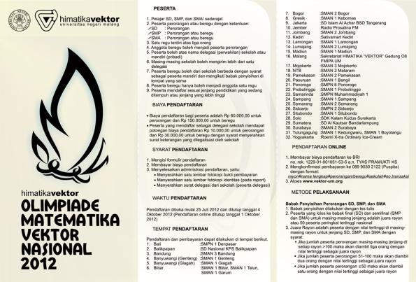 OLIMPIADE MATEMATIKA VEKTOR NASIONAL 2012 | Asimtot's Blog